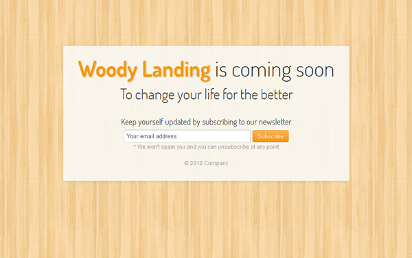 Responsive Woody Landing - Live Preview - WrapBootstrap