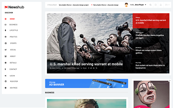 Newshub - News / Magazine Template - Live Preview - WrapBootstrap