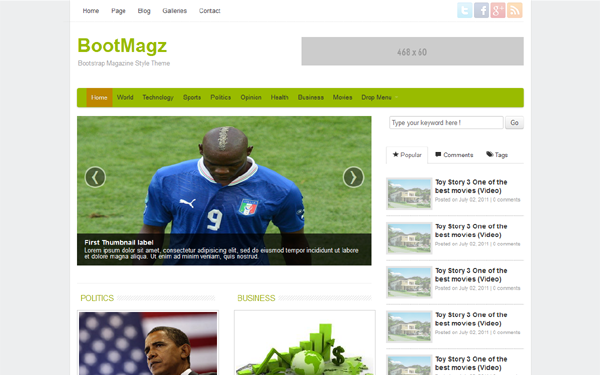 BootMagz - Magazine Theme - Live Preview - WrapBootstrap