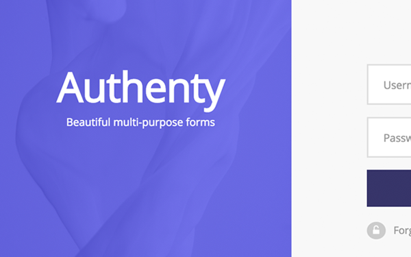 authenty login signup forms wrapbootstrap. Black Bedroom Furniture Sets. Home Design Ideas