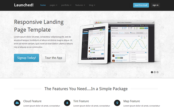 Launched! - Responsive Website Template - Live Preview - WrapBootstrap