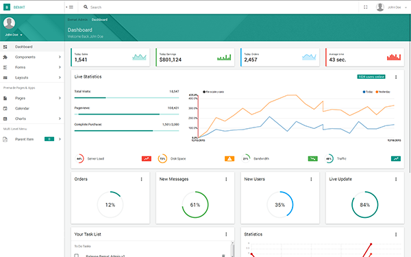 Bemat - Material Design Admin Template - Live Preview - WrapBootstrap