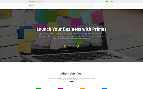 Primes - Landing Page - Live Preview - WrapBootstrap