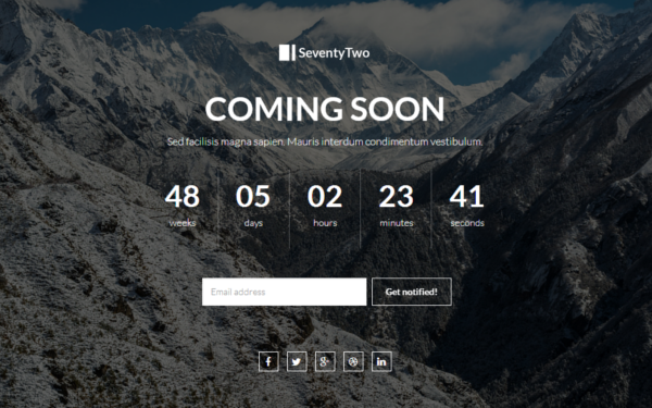 SeventyTwo - Premium Coming Soon - Live Preview - WrapBootstrap