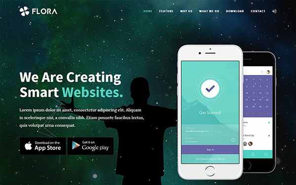 Flora - Easy To Use App Landing Page - Live Preview - WrapBootstrap