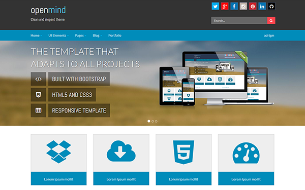 Wordpress Template | Open Mind Wordpress Customizable Theme Wrapbootstrap