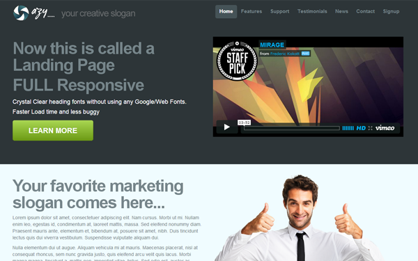 DOWNLOAD - Azy - Responsive 1 Page Template