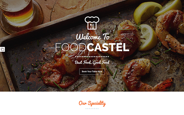 foodcastle restaurant landing page wrapbootstrap