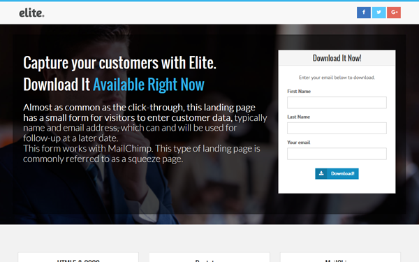 DOWNLOAD - Elite - Landing Page