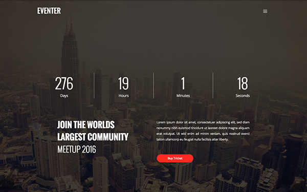 Eventer | Event Landing Page - Live Preview - WrapBootstrap