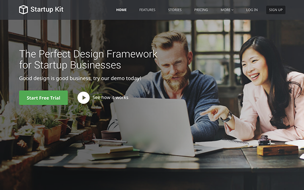Startup Kit | For SaaS Startups - Live Preview - WrapBootstrap