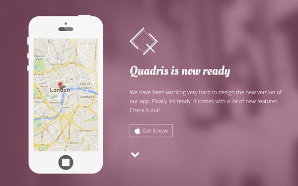 Quadris - Flat App Landing Page - Live Preview - WrapBootstrap