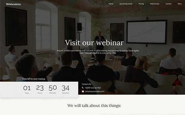 Webinar - Meeting Template - Live Preview - WrapBootstrap
