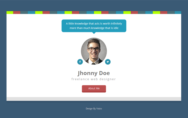 D Card Personal Html Template Wrapbootstrap