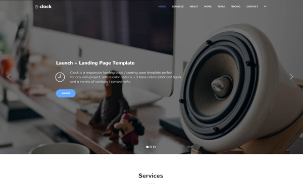 Clock | Launch + Landing Page Template | Landing Pages | WrapBootstrap