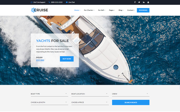 [DOWNLOAD] - Cruise - Boat & Yacht Rental Template