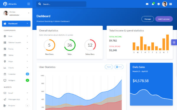 DOWNLOAD - Atlantis - Bootstrap 4 Admin Template