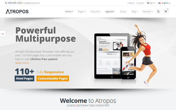 Atropos responsive website template wrapbootstrap atropos responsive website template wajeb Images