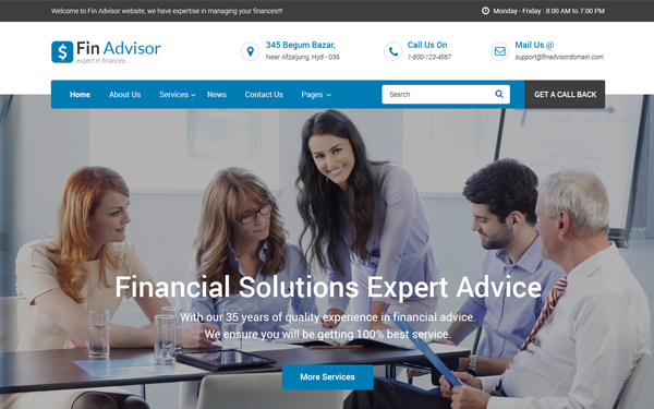 Fin Adviser - Financial Website Template - Live Preview - WrapBootstrap