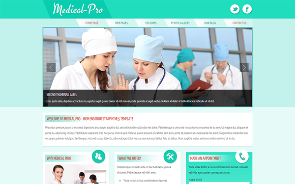 Medical-Pro Responsive Template - Live Preview - WrapBootstrap