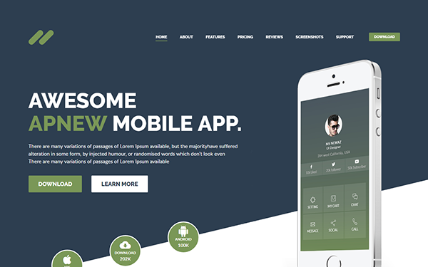 Apnew - Multipurpose Landing Page - Live Preview - WrapBootstrap