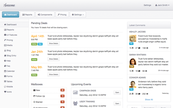 Awesome Admin - Live Preview - WrapBootstrap