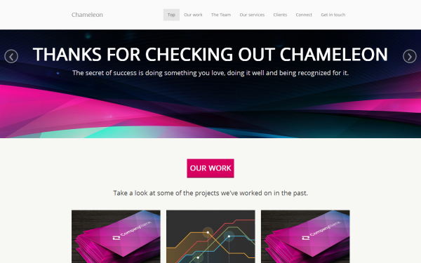 Chameleon - Single Page Theme - Live Preview - WrapBootstrap