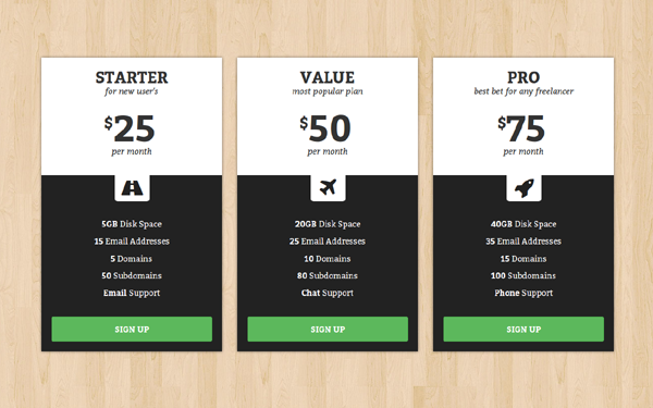 Halfy - Responsive Pricing Tables