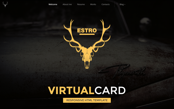 Estro one page virtual card with blog