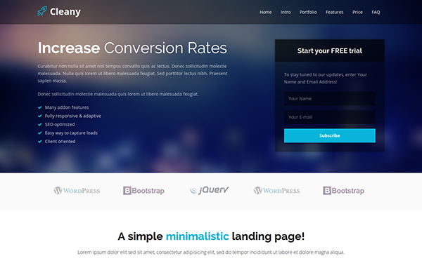Freelance themes wrapbootstrap cleany html5 landing page pronofoot35fo Image collections