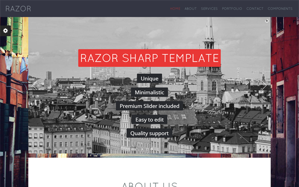RAZOR - Corporate One Page HTML Template - Live Preview - WrapBootstrap