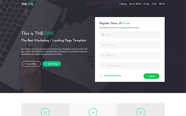 TheOne - Landing Page Template - Live Preview - WrapBootstrap