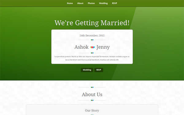 Responsive Bootstrap Wedding Theme