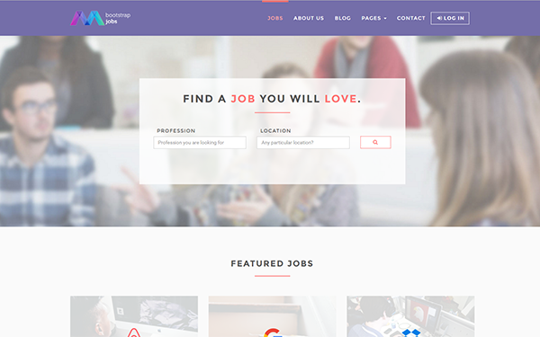 Bootstrap jobs job board template wrapbootstrap for Getbootstrap com templates