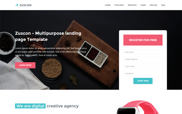 Zuscon - Multipurpose Landing Template - Live Preview - WrapBootstrap