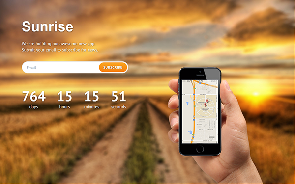 Sunrise - Coming Soon Page - Live Preview - WrapBootstrap