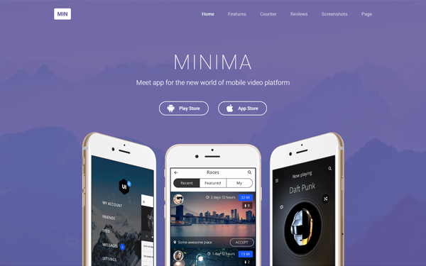 Minima Simple App Showcase Landing Page | Bootstrap Landing Pages ...