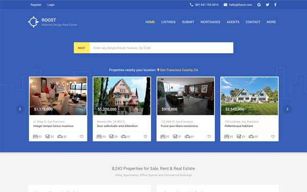 roost material design real estate wrapbootstrap