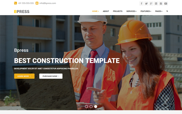 Bpress - Construction WordPress Theme