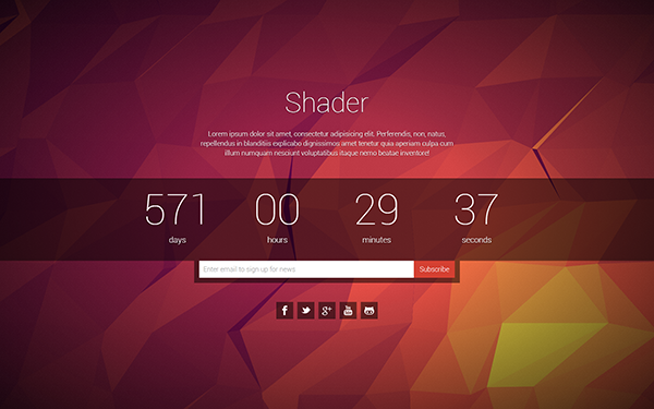 Shader - Coming Soon Page - Live Preview - WrapBootstrap