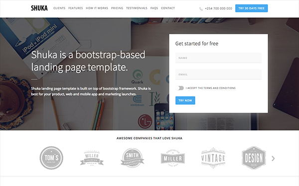 Shuka - Multipurpose Landing Page - Live Preview - WrapBootstrap