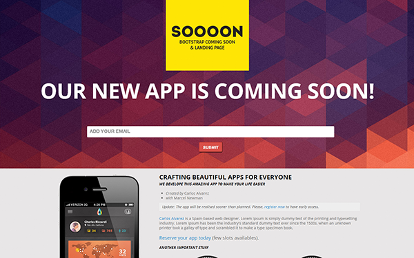 Soooon coming soon landing page