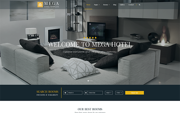Mega - Hotel Booking Bootstrap Theme