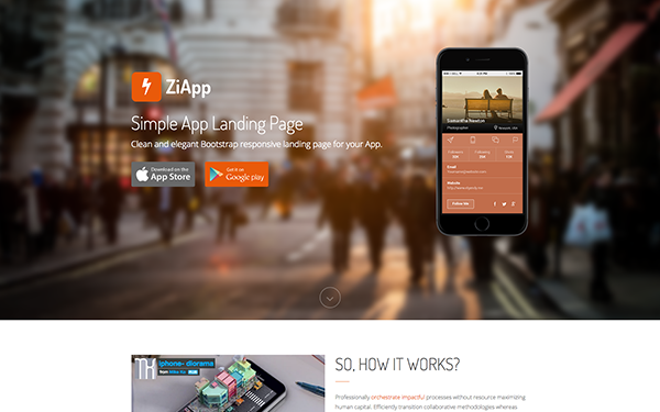 Zi - Simple App Landing Page - Live Preview - WrapBootstrap