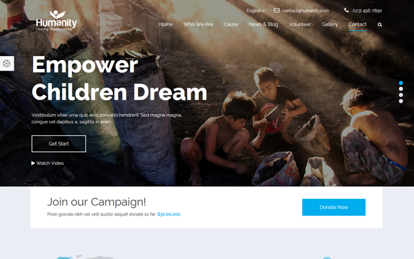 Humanity - Non-Profit Charity Theme - Live Preview - WrapBootstrap