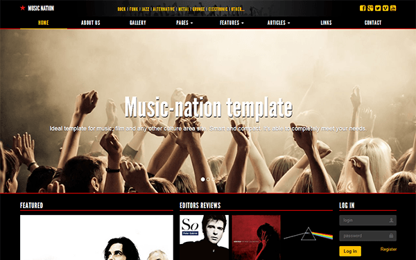 Music-nation - Responsive Dark Template | WrapBootstrap