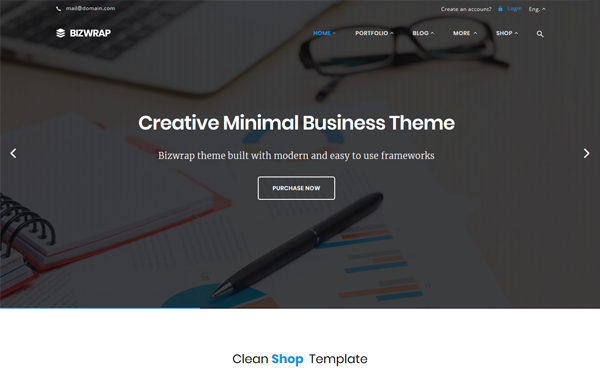 Bizwrap - Elegant Bootstrap 4 Template - Live Preview - WrapBootstrap