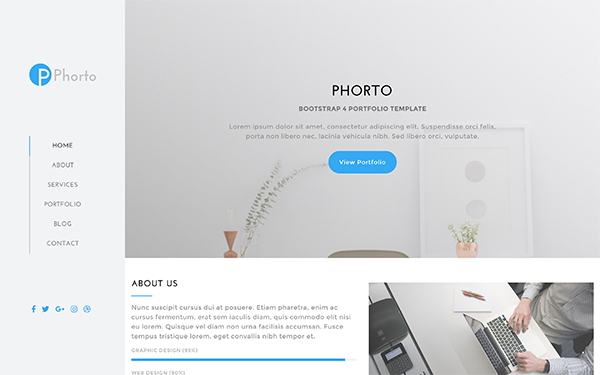 Phorto portfolio bootstrap 4 template wrapbootstrap for Getbootstrap com templates