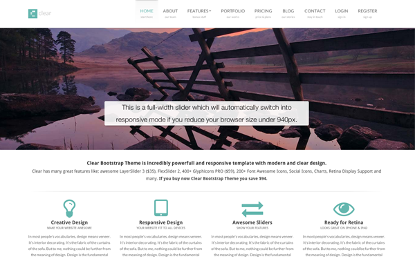 Clear Bootstrap Theme - Live Preview - WrapBootstrap