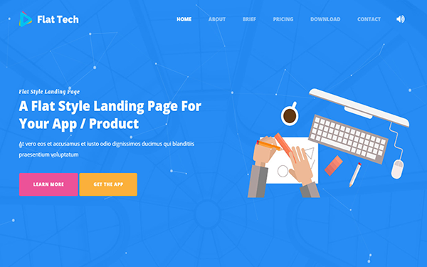 Flat Tech - Flat Landing Page Template - Live Preview - WrapBootstrap